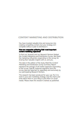 Content Marketing and Distribution Sample