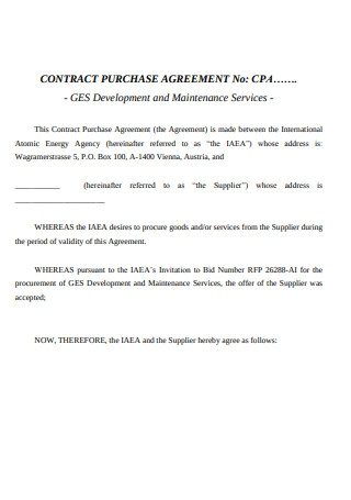 Contract Purchase Agreement Sample