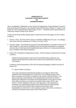 Contract for Employment of Superintendent