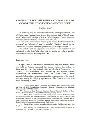 Contract for the International Sale of Good