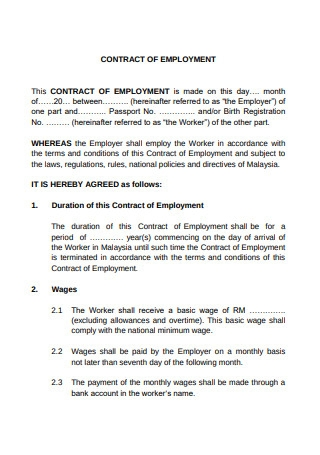 Contract of Employment Format