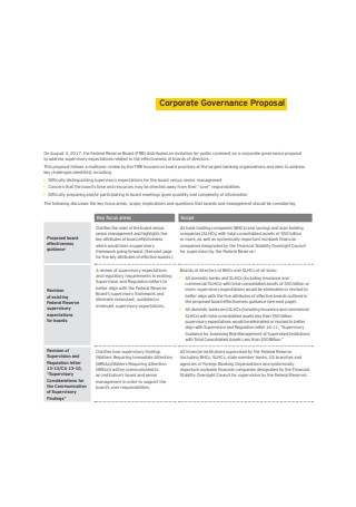 Corporate Governance Proposal