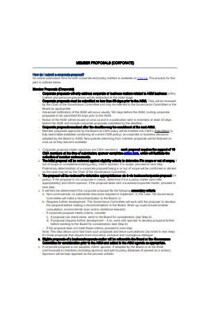 Corporate Member Proposal Sample