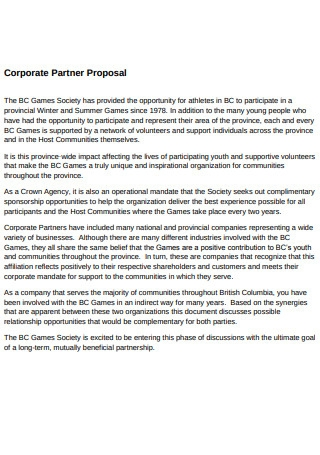 Corporate Partner Proposal