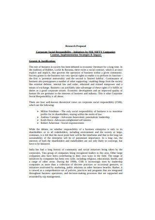 Corporate Social Responsibility Research Proposal