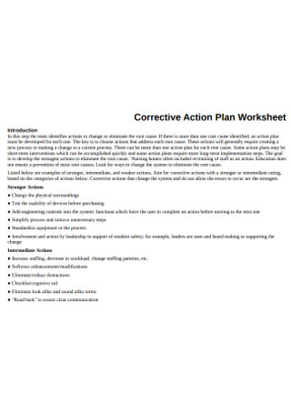 Corrective Action Plan Worksheet