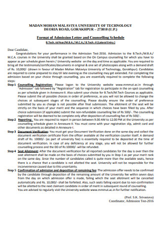 Counsilling Admission Letter