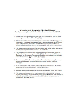Creating and Approving Meeting Minutes