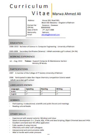 Curriculum Vitae Cover Letter