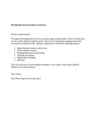 Customer Marketing Letter