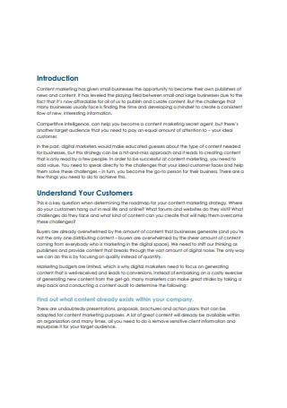 Customers Content Marketing Sample