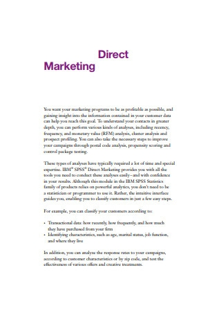 Customers Direct Marketing Example