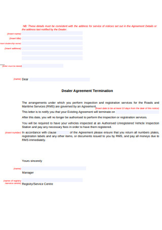 Dealer Agreement Termination Letter