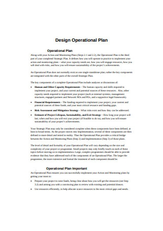 Design Operational Plan Sample
