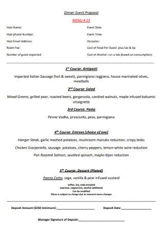 Dinner Event Proposal