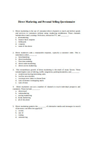 Direct Marketing and Personal Selling Questionnaire