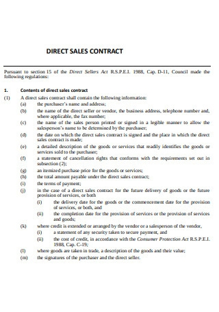 Direct Sales Contract Sample
