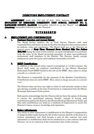 Directors Employment Contract Sample