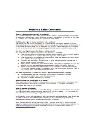Distance Sales Contract Sample