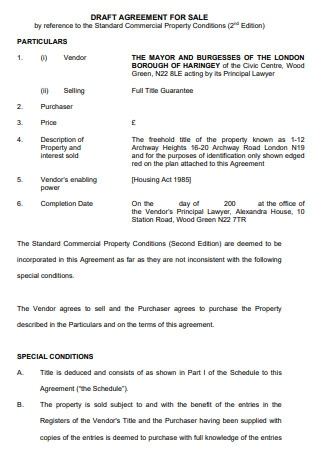 Draft Agreement for Sale