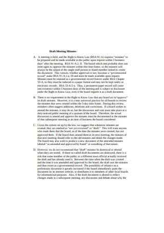 Draft Meeting Minutes Sample