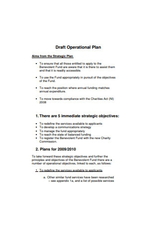 Draft Operational Plan Sample