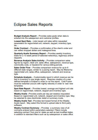 Eclipse Sales Reports