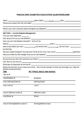 Education Diabetes Questionnaire