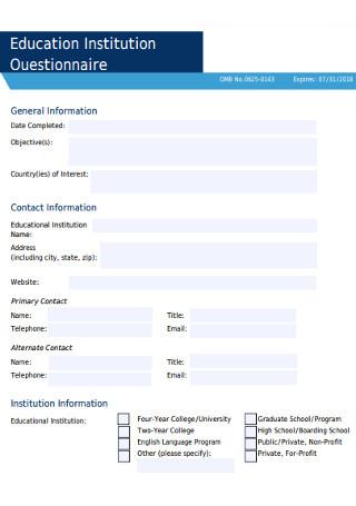 Education Institution Questionnaire
