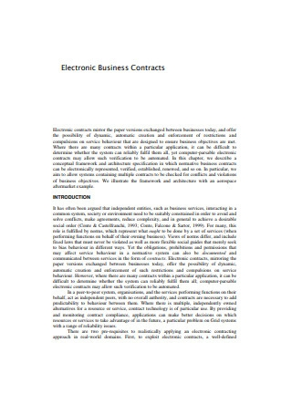 Electronic Business Contracts Sample