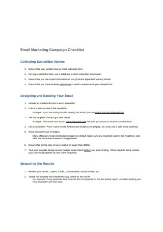 Email Marketing Campaign Checklist