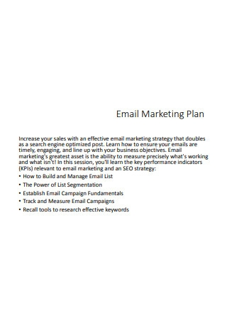 Email Marketing Plan Sample