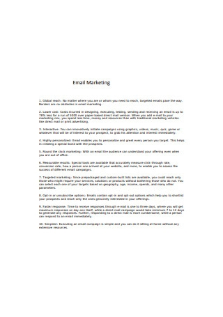 Email Marketing Services Sample