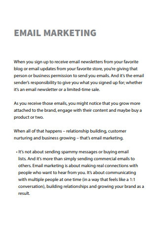 Email Marketing Strategy Sample