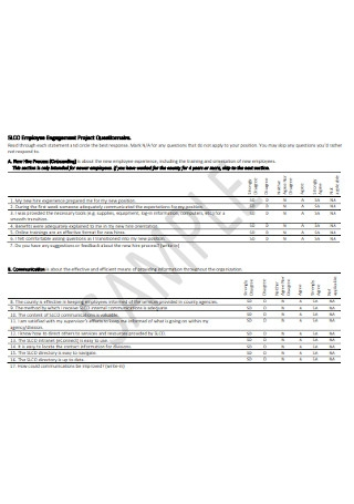 Employee Engagement Project Questionnaire