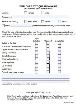 Employee Exit Questionnaire