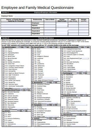 Employee and Family Medical Questionnaire