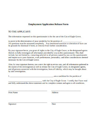 Employment Application Release Form