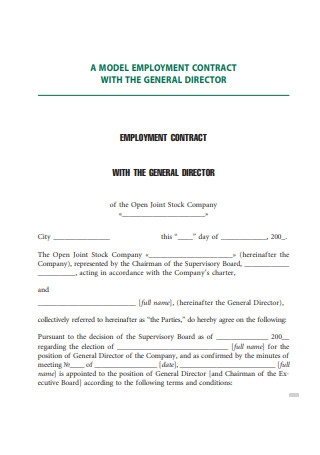 Employment Contract With General Director