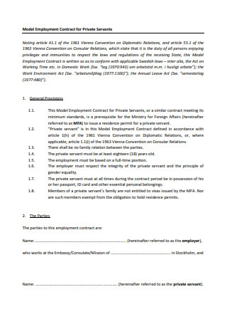 Employment Contract for Private Servants