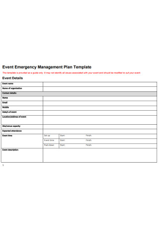 Event Emergency Management Plan Template