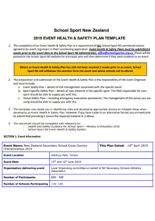 Event Health and Safety Plan Template