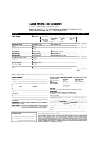 Event Marketing Contract Sample