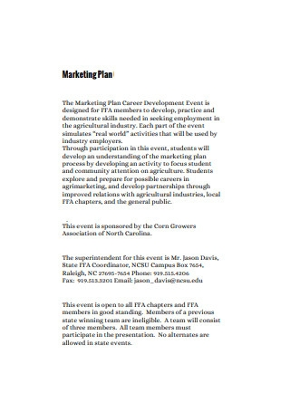 Event Marketing Development Plan Sample