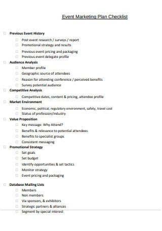 Event Marketing Plan Checklist Sample