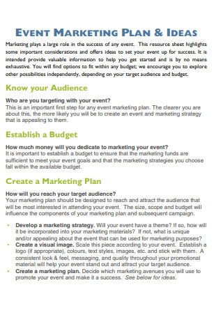 Event Marketing Plan and Ideas Sample
