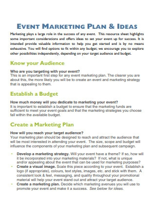 Event Marketing Strategy and Plans