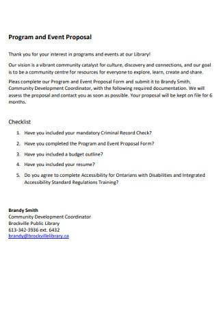 Event Program Proposal