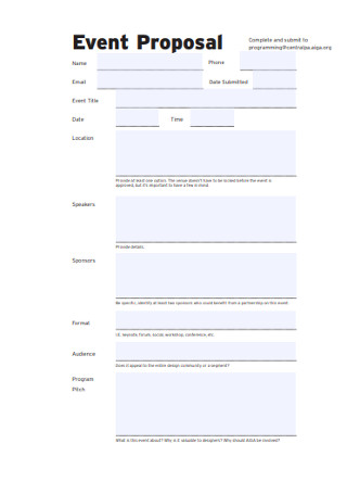 Event Proposal Budget Form