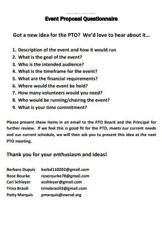 Event Proposal Questionnaire